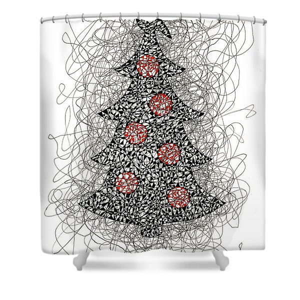 Christmas Tree Pen And Ink Drawing Shower Curtain