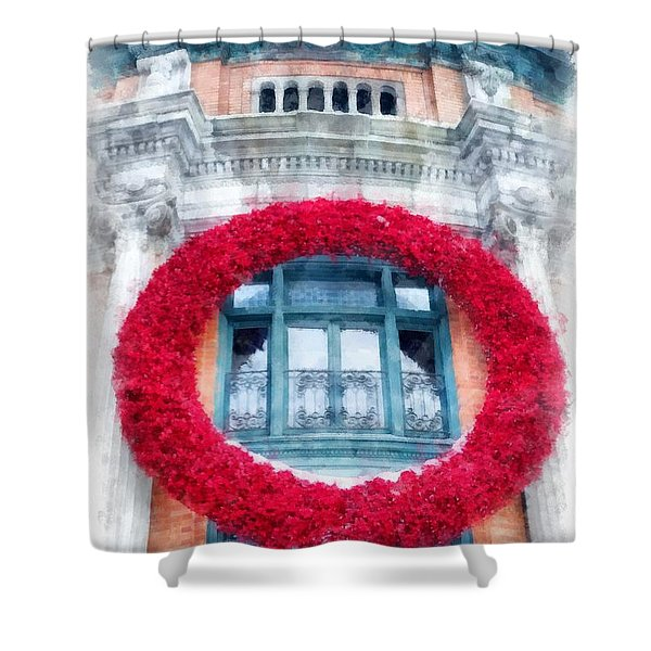 Christmas Wreath Old Quebec City Shower Curtain