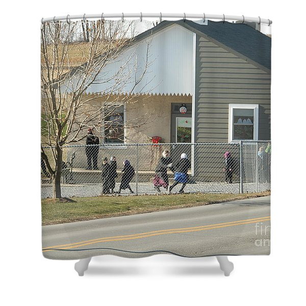 Christmastime At The Schoolhouse Shower Curtain