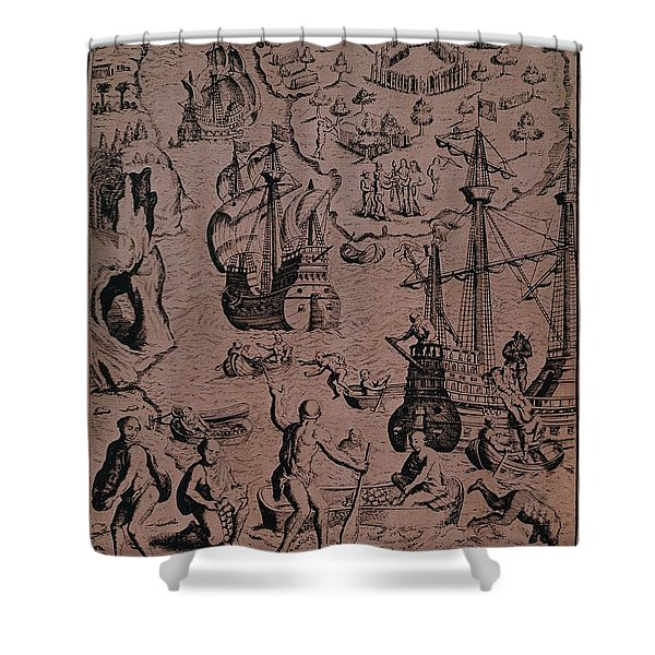 Christopher Colombus Discovering The Islands Of Margarita And Cubagua Where They Found Many Pearls Shower Curtain