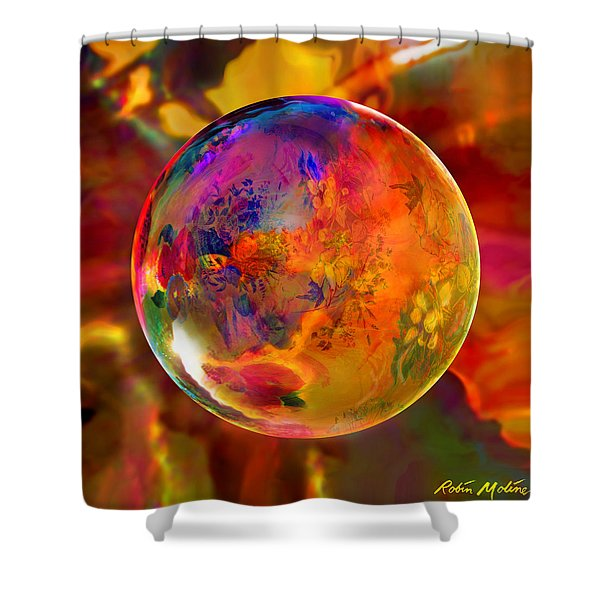 Chromatic Floral Sphere Shower Curtain