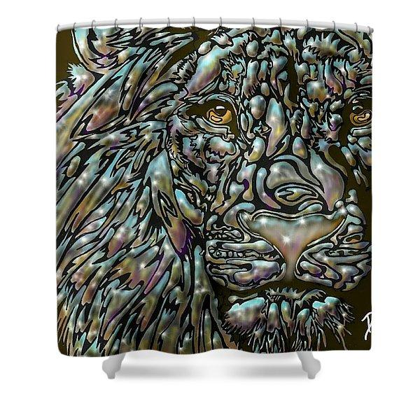 Chrome Lion Shower Curtain