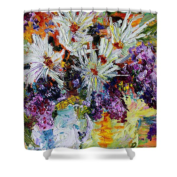 Chrysanthemums And Lilacs Still Life Shower Curtain