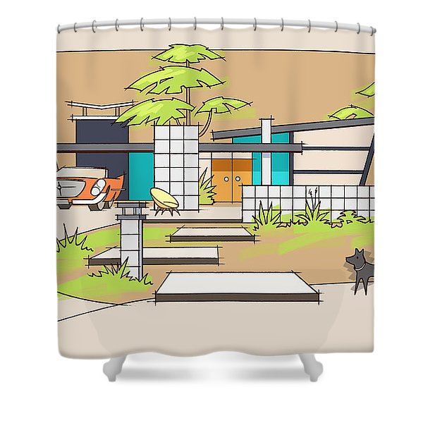 Chrysler With Black Dog, A Mid-century Home Shower Curtain