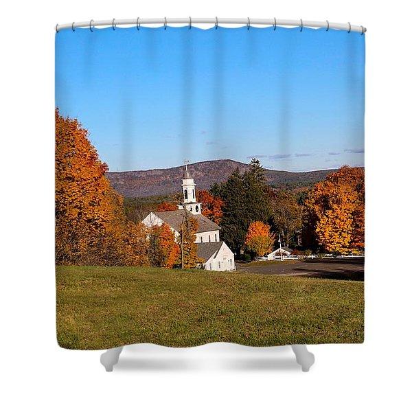 Shower Curtain featuring the photograph Church And Mountain by Sven Kielhorn