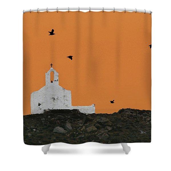 Church On A Hill Shower Curtain
