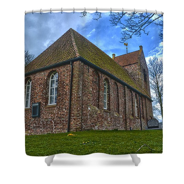 Church On The Mound Of Oostum Shower Curtain