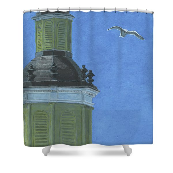 Church Steeple With Seagull Shower Curtain