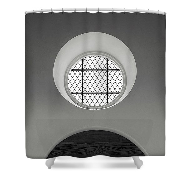 Church Window In Black And White Shower Curtain