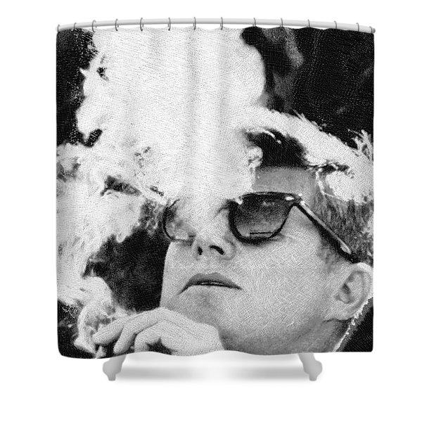 Cigar Smoker Cigar Lover Jfk Gifts Black And White Photo Shower Curtain