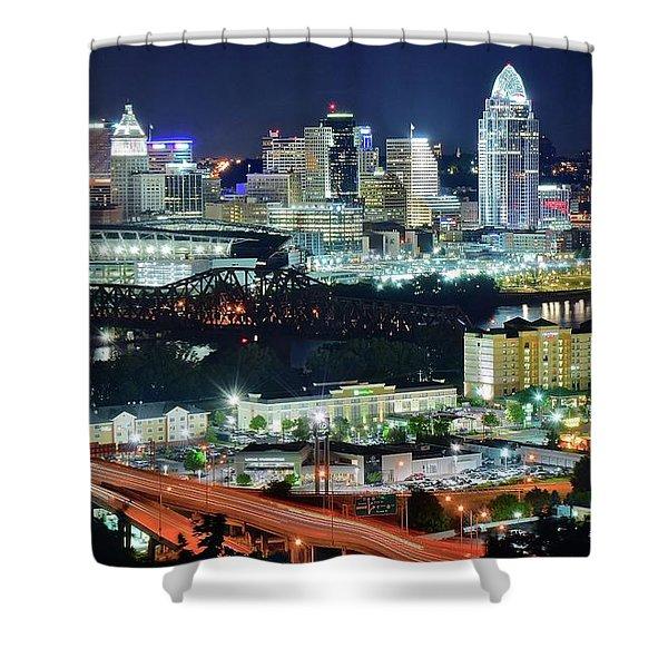 Cincinnati And Covington Collide Shower Curtain
