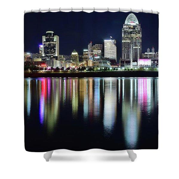 Cincinnati Late Night Lights Shower Curtain