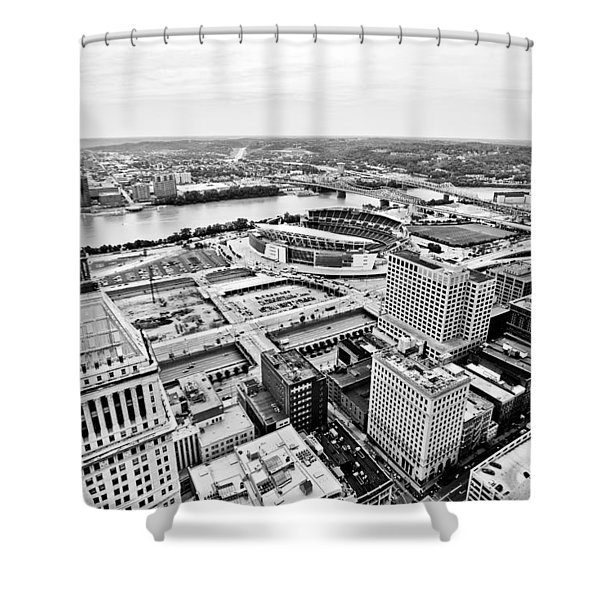Cincinnati Skyline Aerial Shower Curtain by Paul Velgos
