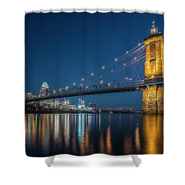 Cincinnati's Roebling Suspension Bridge At Dusk Shower Curtain