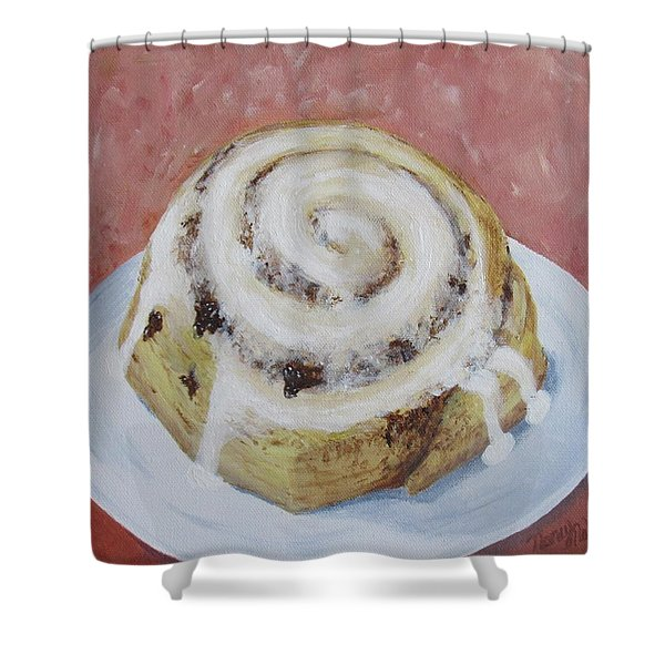 Shower Curtain featuring the painting Cinnamon Roll by Nancy Nale