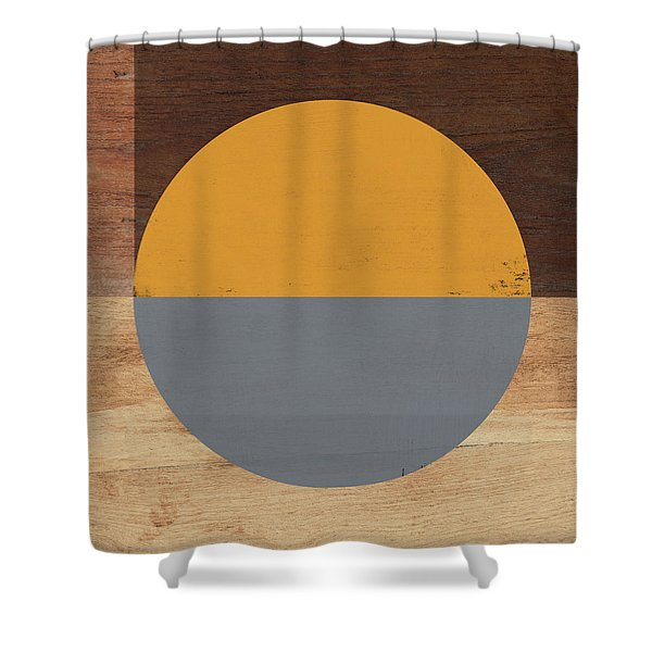 Cirkel Yellow And Grey- Art By Linda Woods Shower Curtain