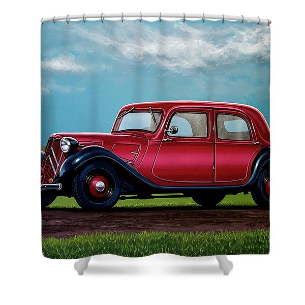 Citroen Traction Avant 1934 Painting Shower Curtain