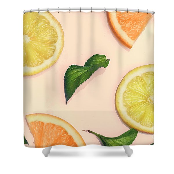 Citrus Pattern On Retro Pink Background Shower Curtain