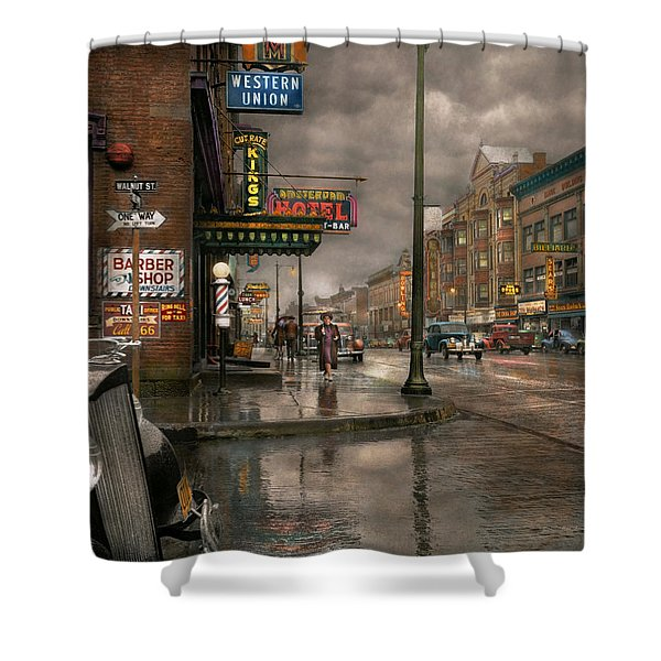 City - Amsterdam Ny -  Call 666 For Taxi 1941 Shower Curtain