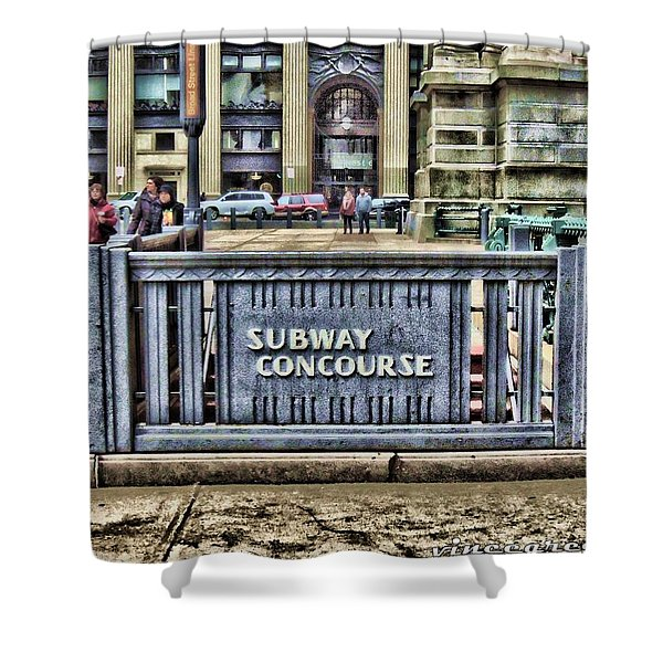 City Hall Sidewalk Shower Curtain