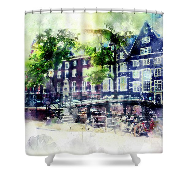 city life in watercolor style - Old Amsterdam  Shower Curtain
