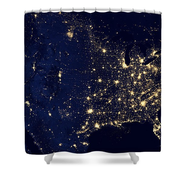 City Lights Of The United States Shower Curtain