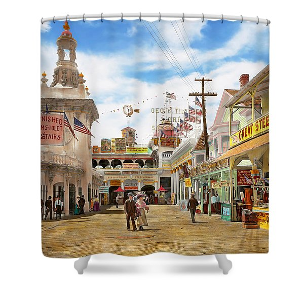 City - Ny - The Great Steeplechase 1903 Shower Curtain