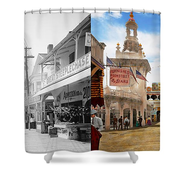 City - Ny - The Great Steeplechase 1903 - Side By Side Shower Curtain