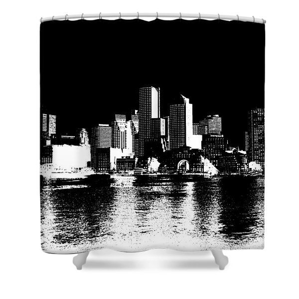 City Of Boston Skyline   Shower Curtain