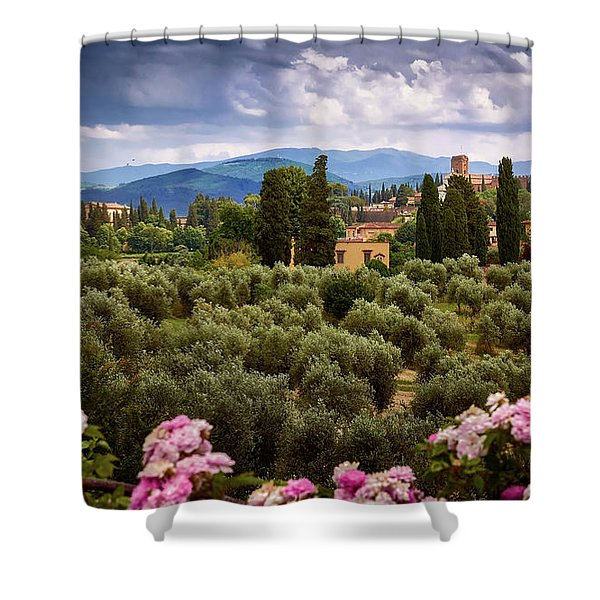 Tuscan Landscape With Roses And Mountains In Florence, Italy Shower Curtain