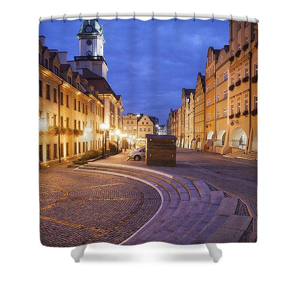 City Of Jelenia Gora By Night Shower Curtain
