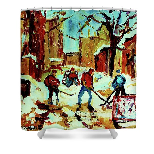 City Of Montreal Hockey Our National Pastime Shower Curtain