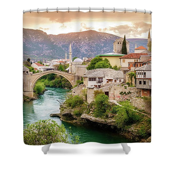 City Of Mostar And Neretva River Shower Curtain