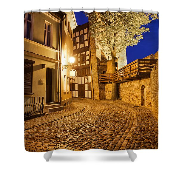 City Of Torun At Night Shower Curtain