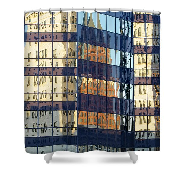 Shower Curtain featuring the photograph City Reflections 1 by Anita Burgermeister