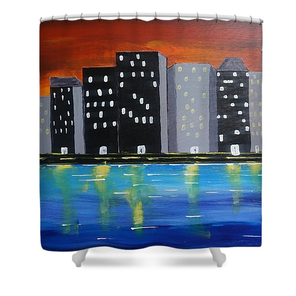 City Scape_night Life Shower Curtain