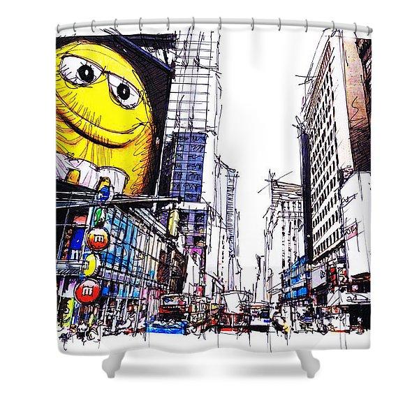City Sketch, 7th Ave Broadway Manhattan, Yellow Mm Shower Curtain