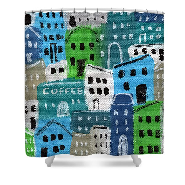 City Stories- Coffee Shop Shower Curtain