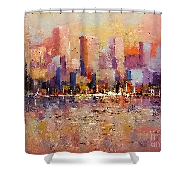 Shower Curtain featuring the painting Cityscape 2 by Rosario Piazza