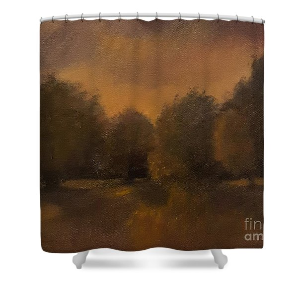 Shower Curtain featuring the painting Clapham Common At Dusk by Genevieve Brown
