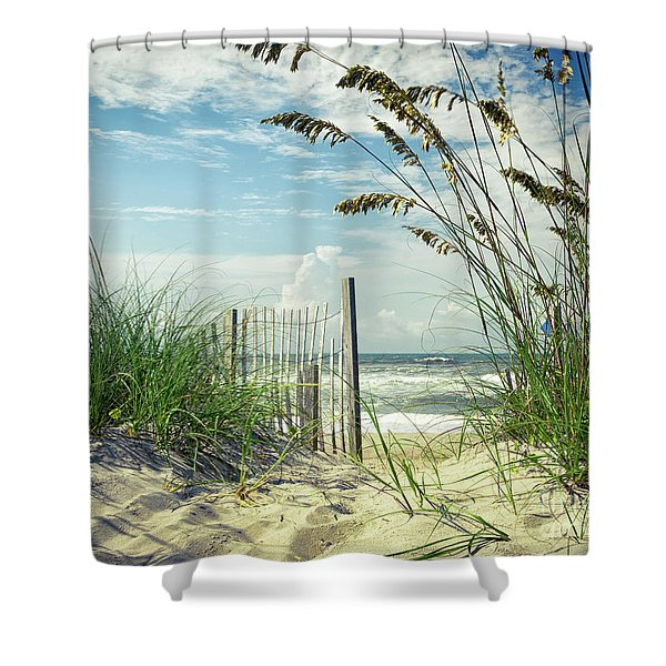 To The Beach Sea Oats Shower Curtain