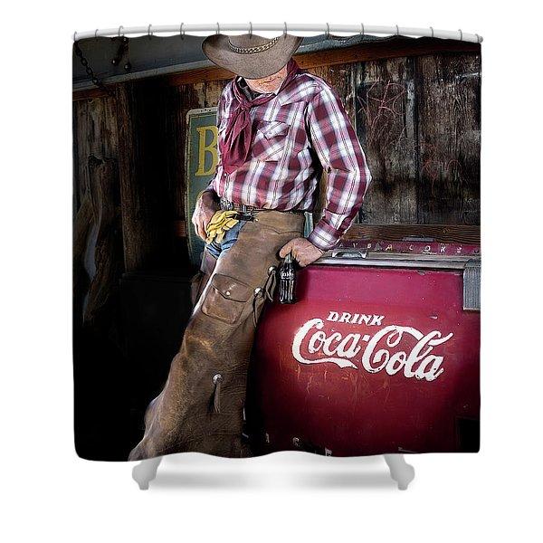 Classic Coca-cola Cowboy Shower Curtain