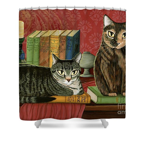 Classic Literary Cats Shower Curtain
