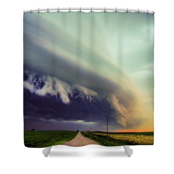 Shower Curtain featuring the photograph Classic Nebraska Shelf Cloud 024 by NebraskaSC