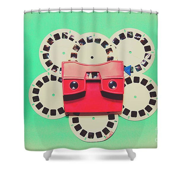 Classic Old Media Slide Show Viewer Shower Curtain
