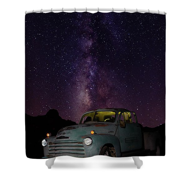 Classic Truck Under The Milky Way Shower Curtain