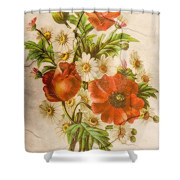 Classic Vintage Shabby Chic Rustic Poppy Bouquet Shower Curtain
