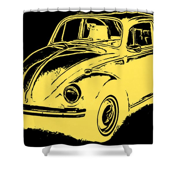 Classic Beetle Tee Yellow Ink Shower Curtain