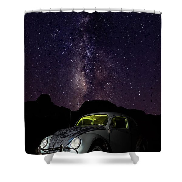 Classic Vw Bug Under The Milky Way Shower Curtain