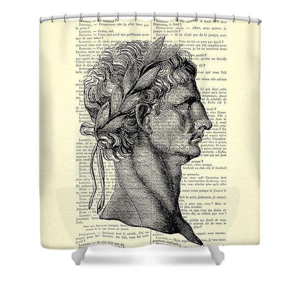 Claudius Caesar Black And White Portrait Shower Curtain